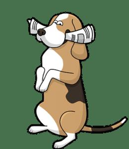 illustration d'un chien avec un journal