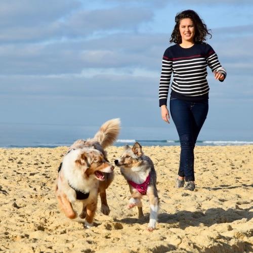 une jeune fille promène 2 chiens sur la plage